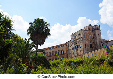 the Palace of Normans of Palermo in Sicily - External view ...