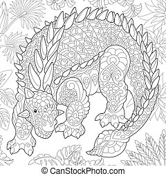 Coloring page of ankylosaurus dinosaur of the Cretaceous period. Freehand sketch drawing for adult antistress colouring book with zentangle elements.