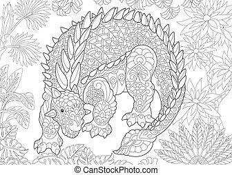 Extinct species. Ankylosaurus dinosaur.