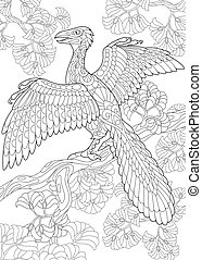 Extinct species. Archeopteryx dinosaur. - Coloring page of...
