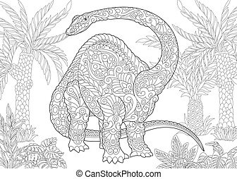 Coloring page of brontosaurus dinosaur of the late Jurassic period. Freehand sketch drawing for adult antistress colouring book with zentangle elements.