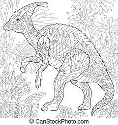 Extinct species. Hadrosaur dinosaur.