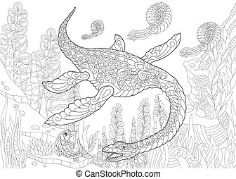 Coloring page of plesiosaurus dinosaur of the Mesozoic era. Freehand sketch drawing for adult antistress colouring book with zentangle elements.