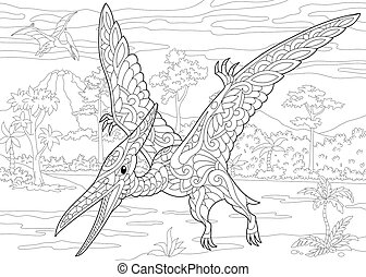 Coloring page of pterodactyl dinosaur, pterosaur of the late Jurassic period. Freehand sketch drawing for adult antistress colouring book with zentangle elements.