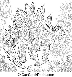 Extinct species. Stegosaurus dinosaur.