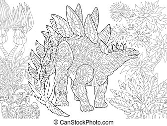 Coloring page of stegosaurus dinosaur of the Jurassic and early Cretaceous periods. Freehand sketch drawing for adult antistress colouring book with zentangle elements.