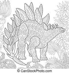 Extinct species. Stegosaurus dinosaur. - Coloring page of...