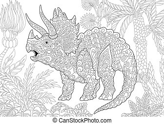 Coloring page of triceratops dinosaur living at the end of the Cretaceous period. Freehand sketch drawing for adult antistress colouring book with zentangle elements.