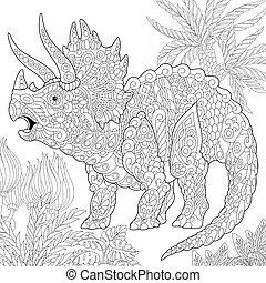 Extinct species. Triceratops dinosaur.