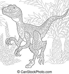 Coloring page of velociraptor dinosaur of the late Cretaceous period. Freehand sketch drawing for adult antistress colouring book with zentangle elements.