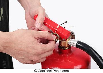 extincteur, épingle, brûler, tank., haut, traction, rouges, close-