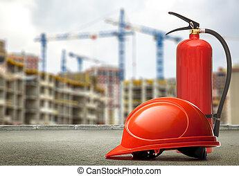 extincteur, bâtiments, casque, brûler, grues, fond