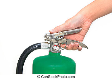 extincteur, brûler, main, détente, vert, pressé