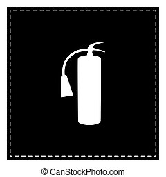 extincteur, brûler, signe., isoler, pièce, arrière-plan., noir, blanc