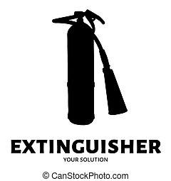 extincteur, extinguisher., brûler, marque, forme, vecteur, logo, logo.