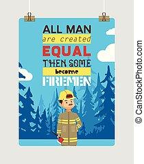 extincteur, femme, prise eau, firefighting, pompier, brûler, caractère, pompier, illustration, dessin animé, équipement, casque, vecteur, fond, firehose, ou, toile de fond, homme