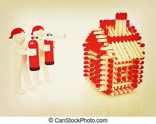 extincteur, illustration., maisons, brûler, modèle, allumettes, homme, vendange, blanc, 3d, style., rouges, bûche
