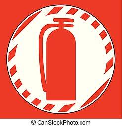 extincteur, plancher, brûler, symbole, signe, fond, blanc