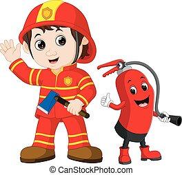 extincteur, secours, brûler, tient, pompier, fer, hache, dessin animé, homme