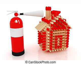 extincteur, tir journal, modèle, allumettes, maison, rouges