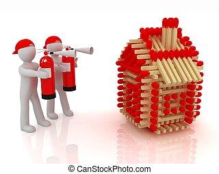 extincteur, tir journal, modèle, allumettes, maisons, blanc, homme, rouges, 3d