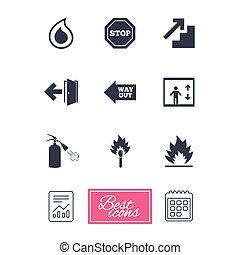 extincteur, urgence, brûler, signe., icons., sécurité