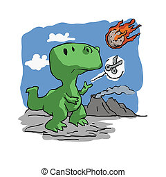 Extinction of dinosaurs funny cartoon