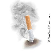 extinguised, sigarette, humo, cloud.