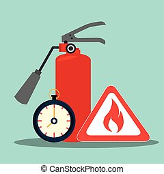 extinguisher and flame signal