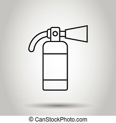Extinguisher icon in flat style. Fire protection vector ...