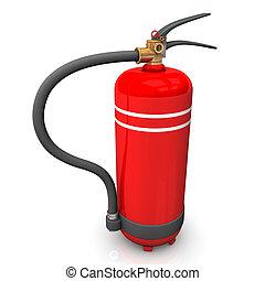Extinguisher - Illustration of red extinguisher on the white...