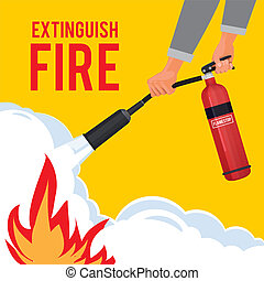 Extinguisher in hands. Firefighter with fire red extinguisher extinguish big flame vector attention placard