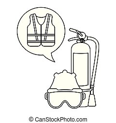 Extinguisher mask and helmet with vest black and white
