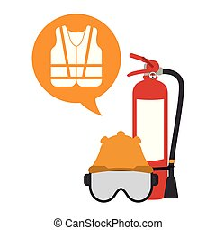 Extinguisher mask and helmet with vest