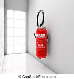 Extinguisher on corridor - Extinguisher fixed on white...