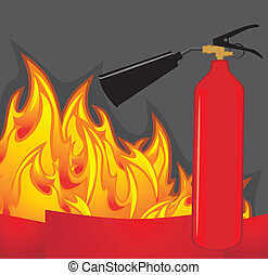 Extinguisher on fiery background. Vector illustration