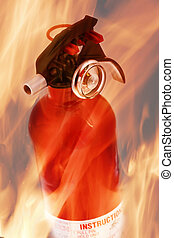 extinguisher on fire - extinguisher set on fire flame...