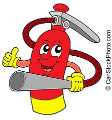 Red extinguisher with face - isolated illustration.
