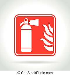 extinguisher red sign on white background