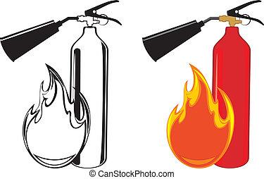 Extinguishers isolated on the white