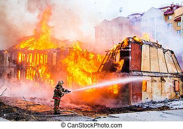 extinguishes, 火, 消防士