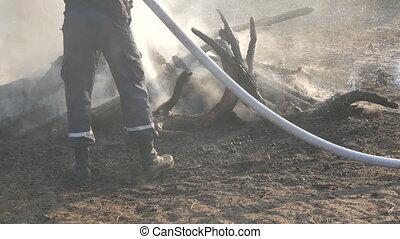 extinguishes, fumée, gens, brûler, pompier, arbres, charbons, pieds, noir, contre, fond, brûlé, hose.