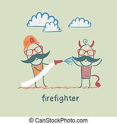 extinguishes, hölle, feuerwehrmann