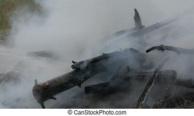 extinguishes, pompier, brûler, forêt, water., smoldering, fumer