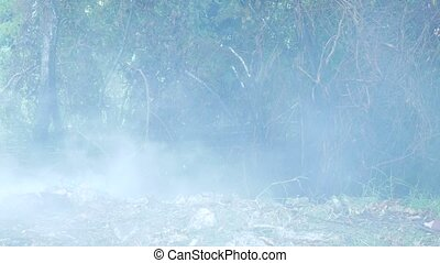 extinguishing forest fire. smoke and water spray close-up. 4?, copy space.