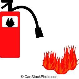 extintor, ícone, isolado, branco, fundo