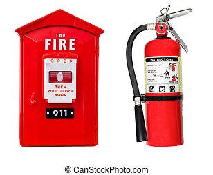 extintor, alarme, caixa, isolado