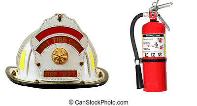 extintor, bombeiro, isolado, chapéu