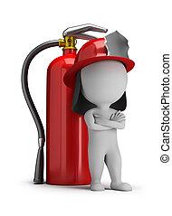 extintor, bombeiro, pessoas, -, grande, pequeno, 3d