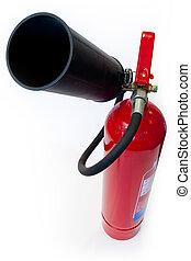 extintor, branca, isolado, vermelho